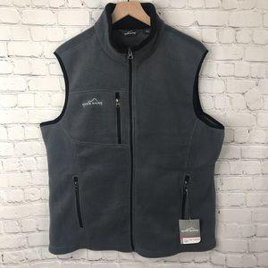 Eddie Bauer NWT Gray Full Zip Fleece Vest Large